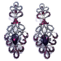 Chandelier Earrings Rhinestone Austrian Crystal 2.9 in Red