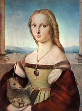 Die Dame mit dem Einhorn Raffael Maria Mona Lisa Licht Himmel Bütten H A3 0471