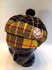 Vintage St. Andrews Wool Plaid Tartan Golf Hat Cap Yellow Black Pom Pom Medium