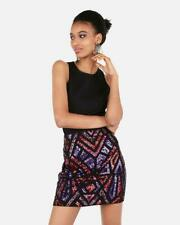 nwt EXPRESS high waisted GEOMETRIC SEQUIN skirt xs rainbow