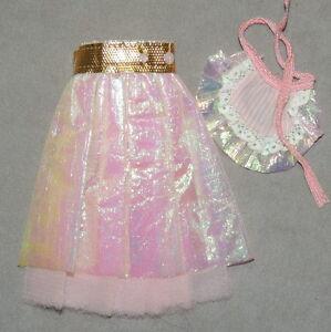 Barbie 1980s Clothes Skirt Mattel Vintage Snail Trail Reversible Pink + Apron
