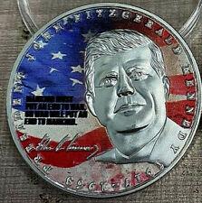 JFK Silver Coin US Flag Americana President John F Kennedy Signed Dallas Legend
