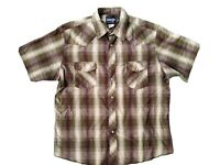 Wrangler Mens Western Shirt XL Plaid Short Sleeve Pearl Snap Button Rodeo Cowboy
