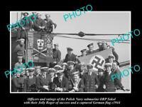 OLD LARGE HISTORIC PHOTO POLAND MILITARY POLISH NAVY SUBMARINE ORP SOKOL c1944
