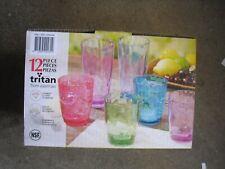 New  12 Piece Tumbler Set Tritan Coloured BPA Free Drinkware 24oz and 16 FL oz