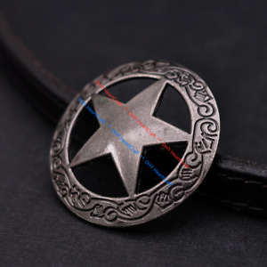 "5PC Antique Silver Western Engraved Texas Ranger Star Conchos 1-1/2"" Screw Back"