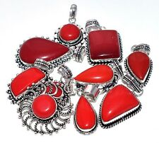 Fashion Lot 10Pcs. RED CORAL 925 Gemstone Sterling Silver Plated Pendant Jewelry