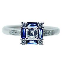Vintage VS1-G Asscher Diamonds French Sapphire Platinum Ring Estate Jewelry