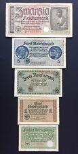 Lot 5 Banknoten Reichsmark, Reichskreditkasse,