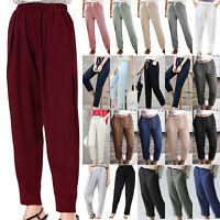 Womens Casual Harem Pants Elastic Waist Pockets Summer Loose Palazzo Trousers