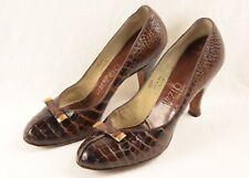 Vintage 1950's Brown Alligator Skin High Heel Shoes 'Palizzio'