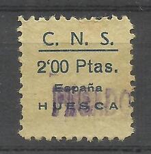 5537-SELLO CUOTA C.N.S, FALANGE ESPAÑOLA HUESCA 2 PESETAS,GUERRA CIVIL ESPAÑA.SP