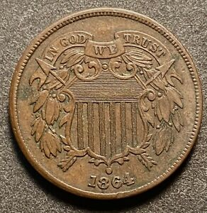 NICE 1864 LARGE MOTTO 2 CENT PIECE   FREE US SHIPPING