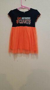 San Francisco Giants Girls Toddler Dress 2T-2 Orange Tulle Skirt Ruffled Sleeves