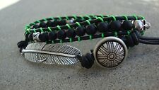 Men's Feather And Matte Black Agate Beaded Leather Skull Wrap Bracelet   USA
