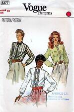 Vogue 8377 Vintage Shirt BLOUSE Sewing Pattern Uncut Size 10