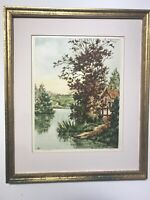 Old Etching Of Lanscape In French Country Side. From Paris Etching Society NY US