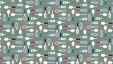 Fat Quarter Lila's Kitchen Utensils on Grey 100% Cotton Quilting Fabric Makower