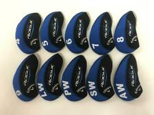 10Pcs Protective Club Covers for Callaway Rogue Iron Headcovers 4-Lw Blue&Black