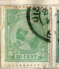 NETHERLANDS;  1891 early classic Wilhelmina issue used 20c. value