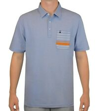New Travis Mathew Short Sleeve Light Blue Polo Shirt Size Small TPC Boston