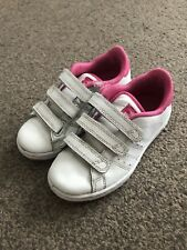 OFFICIAL *LONSDALE LEYTON GIRLS TRAINERS* KIDS CHILD 11/EU 29. White+Pink Velcro
