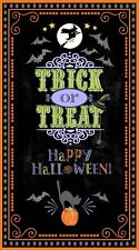 "Halloween Trick Treat Witch Bat Cotton Fabric Here For The Boos 24""X44"" Panel"