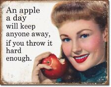 Ephemera  Apple a Day Will Keep People Away Funny Wall Decor Metal Tin Sign New