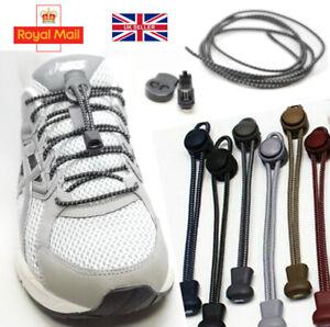 Shoelaces Elastic Shoe Lace Easy Lock No Tie Kids Adult Lazy Trainers Rubber UK