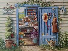 Potting Shed Print Titled Welcome To My Garden by Janet Kruskamp Flowers