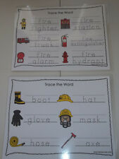 Two laminated Fire Fighter Theme Dry Erase Tracing Worksheets. Community Helpers