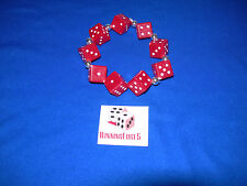 NEW HAND MADE RED DICE BRACELET WITH WHITE PIPS FREE SHIPPING