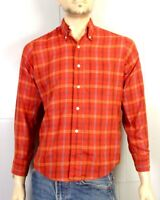 vtg 50s 60s Brent Man in Command Red Plaid Loop Back Dress Shirt Oxford sz S