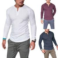 Men Slim Fit Long Sleeve Muscle Basic Tee T-Shirt Casual Top Blouse Henley Shirt
