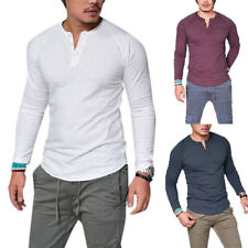 Mens Plain Muscle Tee Long Sleeve V Neck T-Shirt Casual Top Blouse Henley Shirts