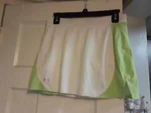 UNDER ARMOUR HEAT GEAR WHITE GREEN Tennis/Golf Skirt Skort UA Logo WOMENS SIZE S