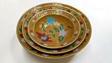 Vintage India Brass Cold Painted Enamel 3 Piece Bowl Set