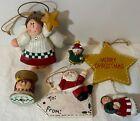 Eddie Walker Christmas Ornament Lot (5) Midwest CF Santa, Angels, Spool, Cat