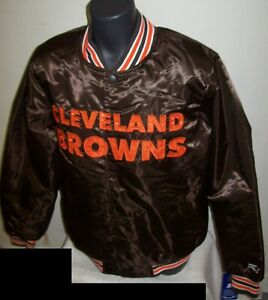 CLEVELAND BROWNS Throw Back STARTER Jacket Brown S - 2X ELF BROWNIE ON BACK