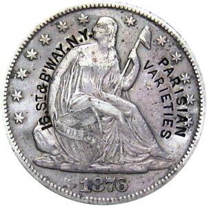 1876-CC Seated Half Dollar Counterstamp Parisian Varieties NYC Erotic Show