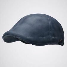 Vintage Leather Solid Gatsby Cap Mens Ivy Hat Golf Driving Flat Cabbie Newsboy