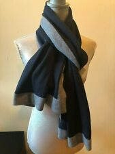 NEW HANNAH ROSE CASHMERE BLUE GRAY STRIPE KNIT SCARF SHAWL WRAP