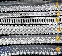 2 lfM. Spitzenband Tüllspitze Häkelborte Bordüre Schlaufen gestrickt Weiß