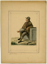 Antique Drawing-GENRE-MAN-SEATED-Stark-ca. 1890