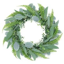 20inch Green Eucalyptus Spring & Summer Wreath for Door & Celebration Handcraft