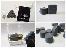 9X Round Whiskey Whisky Scotch Soapstone Glacier Stone Ice Cubes Rocks w/ Bag