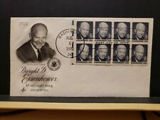 FDC #1393a 6c Eisenhower booklet pane of 8 Artcraft Cachet