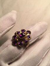 Hand Made Antique Vintage Genuine Purple Color CZ Size 5 Brass Ring