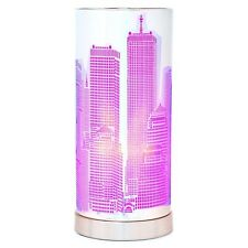 Lampe Touch new york violette cylindrique Métal Tactile 3 Intensités Déco Design