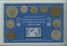 More details for 1948 the royal silver wedding king george vi queen elizabeth coin stamp gift set